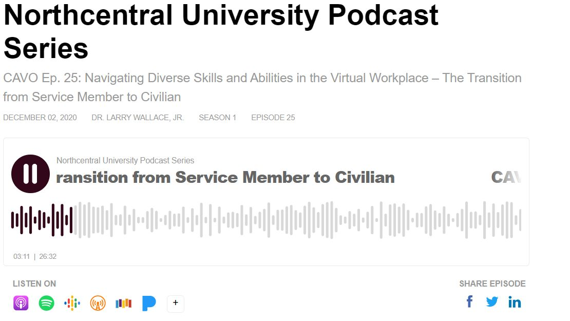 Navigating Diverse Skills and Abilities in the Virtual Workplace – The Transition from Service Member to Civilian